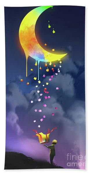 Bath Towel featuring the painting Gifts From The Moon by Tithi Luadthong