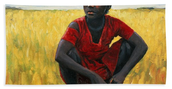 Girl In Red Hand Towel