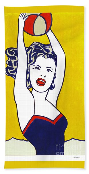 Girl With Ball - Pop Art - Roy Lichtenstein Hand Towel