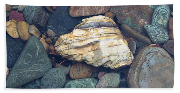 Glacier Park Creek Stones Submerged Bath Towel