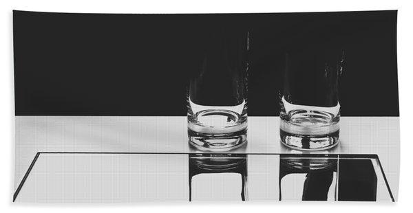 Glasses On A Table Bw Bath Towel