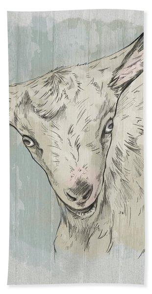 Goat Portrait-farm Animals Bath Towel