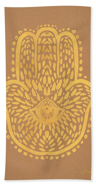 Gold Hamsa Hand On Brown Paper Bath Towel