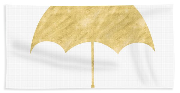 Gold Umbrella- Art By Linda Woods Bath Towel