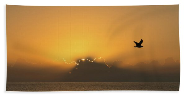 Golden Bird Sunrise Delray Beach Florida Bath Towel