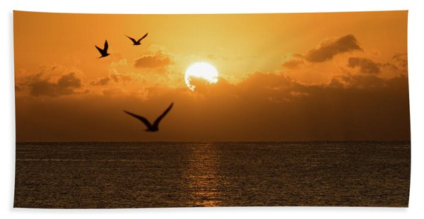 Golden Birds Sunrise Delray Beach Florida Bath Towel
