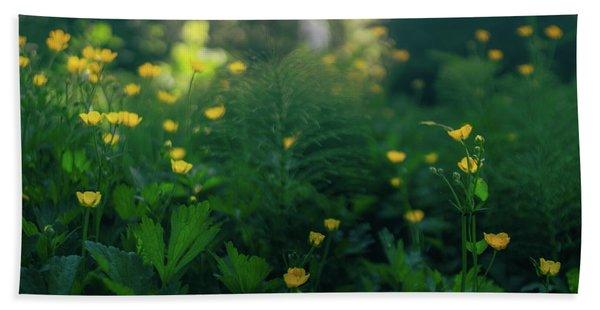Golden Blooms Bath Towel