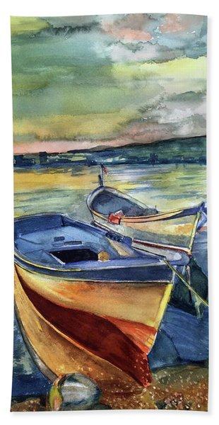 Golden Boats Bath Towel