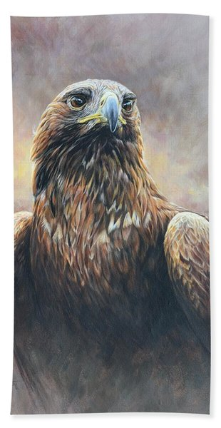 Golden Eagle Portrait Bath Towel
