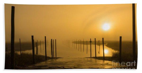 Golden Fog On The Nissequogue Hand Towel