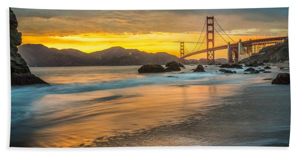 Hand Towel featuring the photograph Golden Gate Bridge After Sunset by James Udall