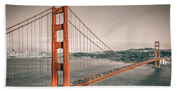 Hand Towel featuring the photograph Golden Gate Bridge Selective Color by James Udall