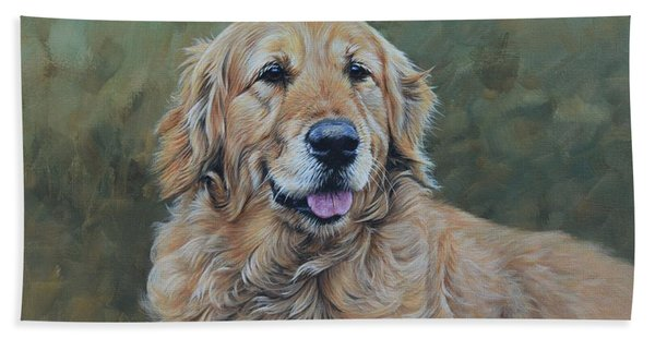 Golden Retriever Portrait Bath Towel