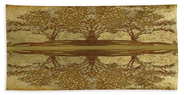 Golden Trees Reflection Bath Towel