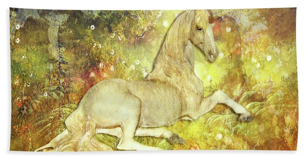 Golden Unicorn Dreams Hand Towel