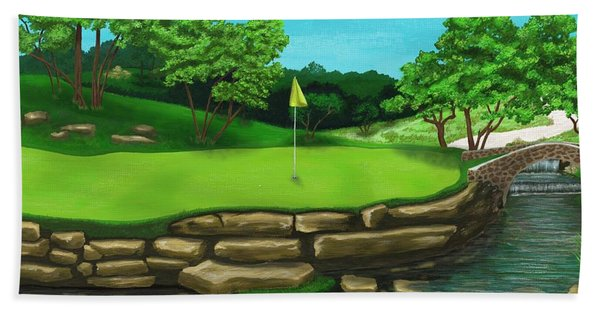 Golf Green Hole 16 Hand Towel
