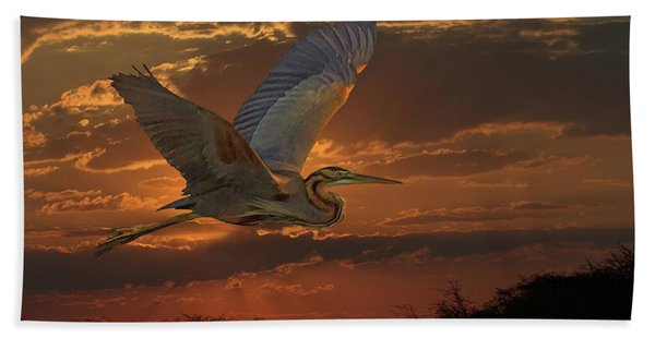Bath Towel featuring the digital art Goliath Heron At Sunset by Larry Linton