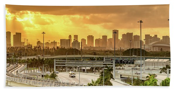 Miami City Sunrise Hand Towel