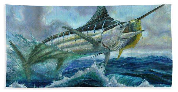 Grand Blue Marlin Jumping Eating Mahi Mahi Bath Towel