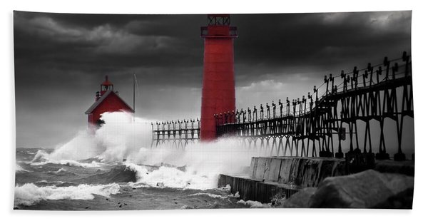Grand Haven Lighthouse In A Rain Storm Hand Towel