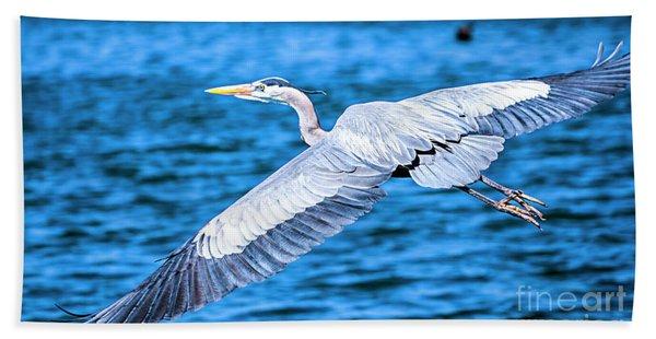 Great Blue Heron Flight Bath Towel
