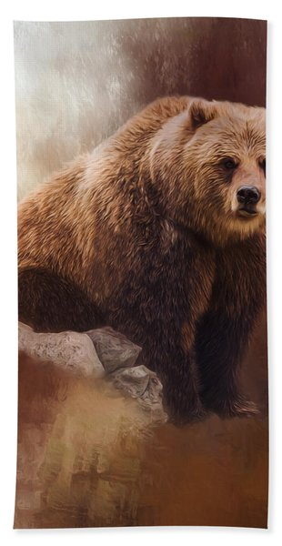 Great Strength - Grizzly Bear Art Hand Towel