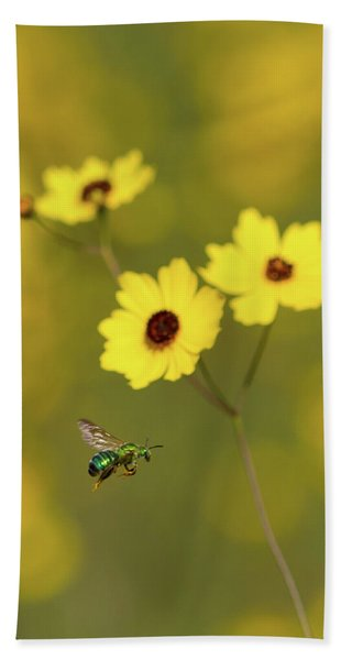 Green Metallic Bee Hand Towel