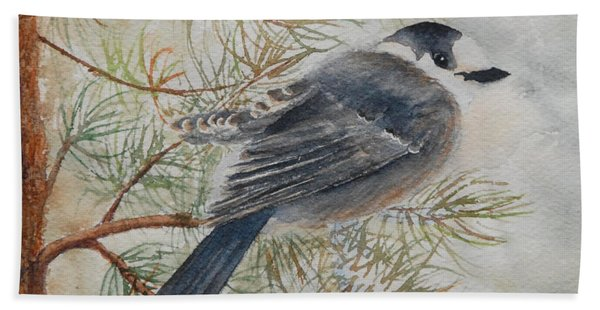 Hand Towel featuring the painting Grey Jay by Ruth Kamenev