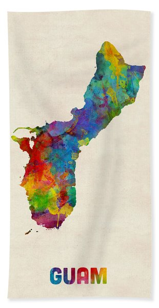 Guam Watercolor Map Bath Towel