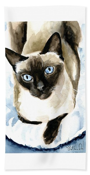 Guardian Angel - Siamese Cat Portrait Bath Towel