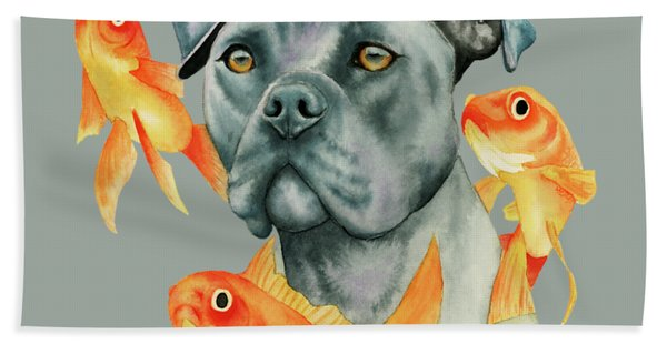 Guardian - Pit Bull Dog And Goldfishes Watercolor Painting Hand Towel