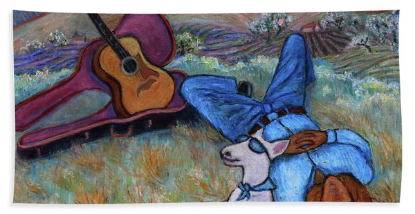 Guitar Doggy And Me In Wine Country Bath Towel