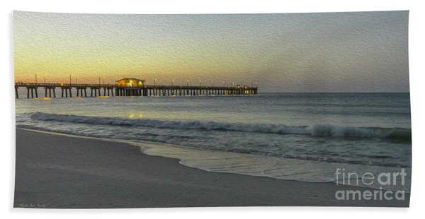 Gulf Shores Alabama Fishing Pier Digital Painting A82518 Bath Towel