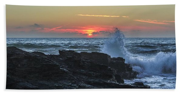 Gwithian Beach Sunset  Bath Towel