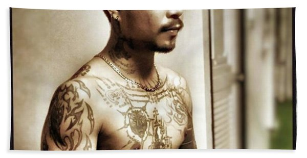Bath Towel featuring the photograph Handsome Man With Tattoos. #thailife by Mr Photojimsf
