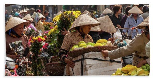 Hanoi Market 02  Bath Towel