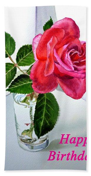 Happy Birthday Card Rose  Hand Towel
