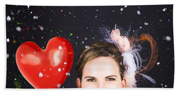 Happy Bride In Confetti During Wedding Celebration Hand Towel
