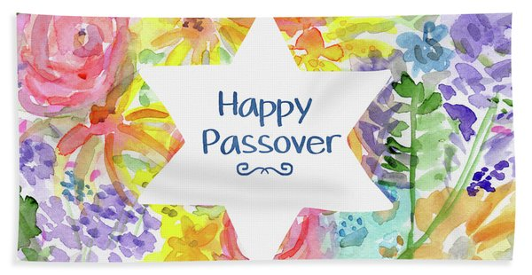 Happy Passover Floral- Art By Linda Woods Hand Towel