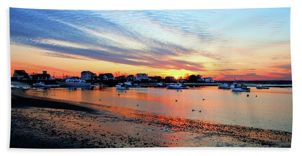 Harbor Sunset At Low Tide Hand Towel
