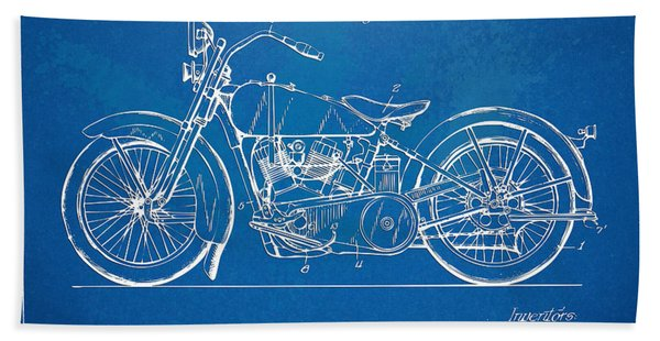 Harley-davidson Motorcycle 1928 Patent Artwork Bath Towel