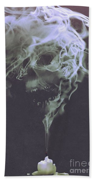 Hand Towel featuring the painting Haunted Smoke  by Tithi Luadthong