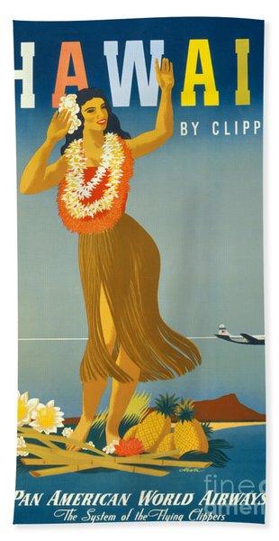 Hawaii Vintage Travel Poster Restored Hand Towel