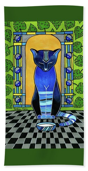 He Is Back - Blue Cat Art Bath Towel