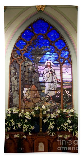 He Is Risen Stained Glass Window Bath Towel