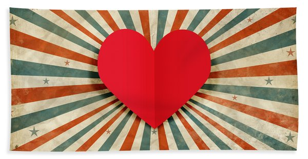 Heart With Ray Background Bath Towel