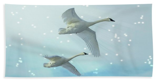 Bath Towel featuring the photograph Heavenly Swan Flight by Patti Deters