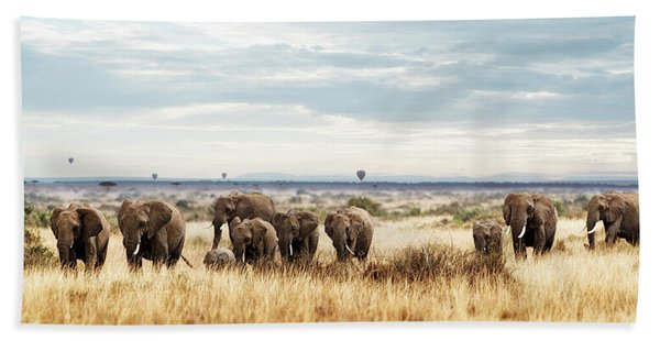 Herd Of Elephant In Kenya Africa Hand Towel