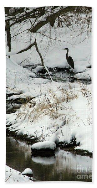 Heron In Winter Bath Towel
