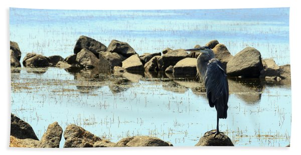 Heron On The Rocks Hand Towel